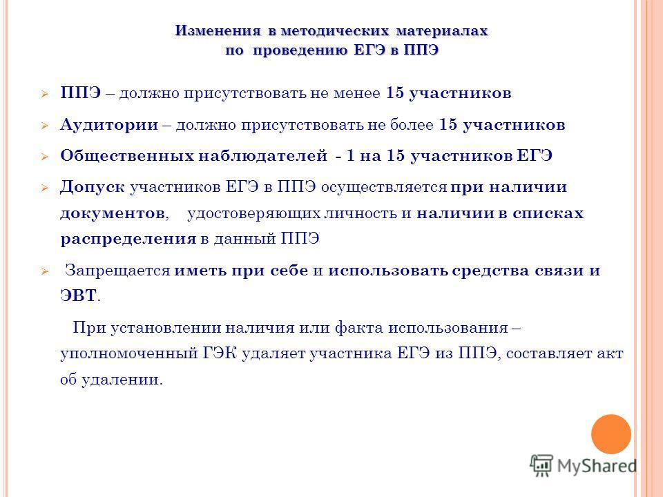 Изменения в методических материалах по проведению ЕГЭ в ППЭ ППЭ – должно присутствовать не менее 15 участников Аудитории – должно присутствовать не более 15 участников Общественных наблюдателей - 1 на 15 участников ЕГЭ Допуск участников ЕГЭ в ППЭ осу
