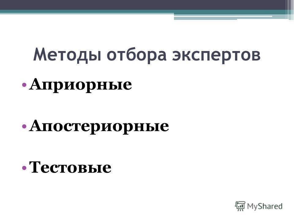 Методы отбора экспертов Априорные Апостериорные Тестовые