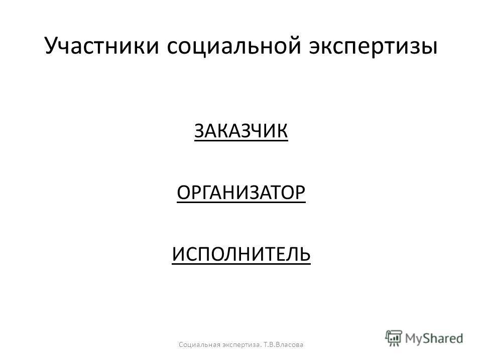 Участники социальной экспертизы ЗАКАЗЧИК ОРГАНИЗАТОР ИСПОЛНИТЕЛЬ Социальная экспертиза. Т.В.Власова