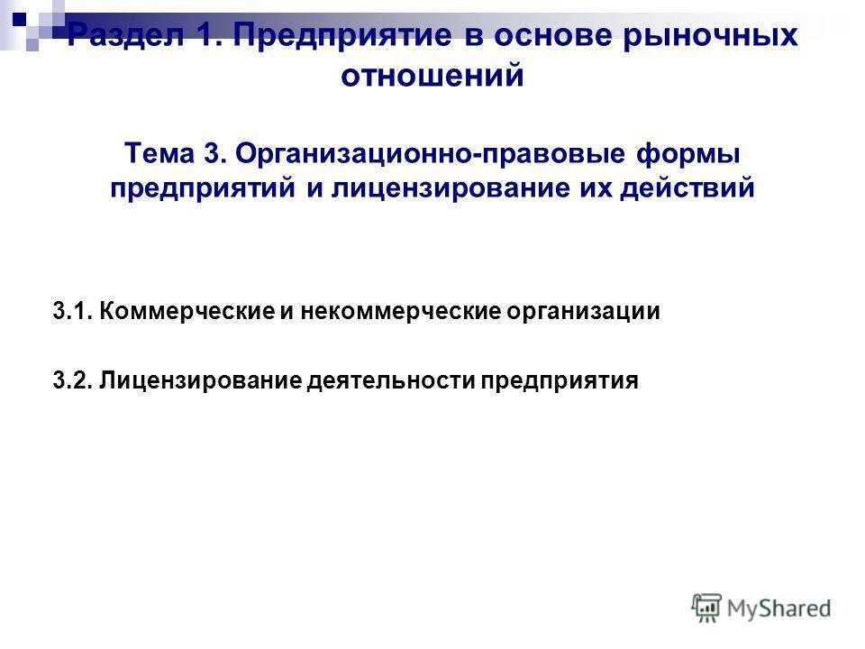 Раздел 1. Предприятие в основе рыночных отношений Тема 3. Организационно-правовые формы предприятий и лицензирование их действий 3.1. Коммерческие и некоммерческие организации 3.2. Лицензирование деятельности предприятия