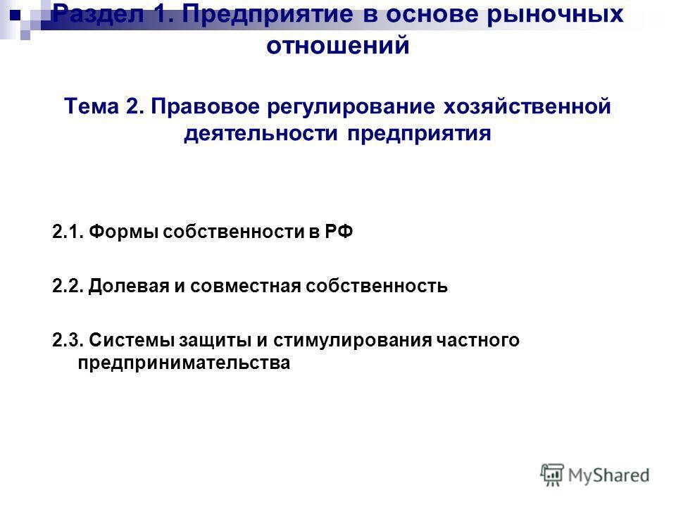Раздел 1. Предприятие в основе рыночных отношений Тема 2. Правовое регулирование хозяйственной деятельности предприятия 2.1. Формы собственности в РФ 2.2. Долевая и совместная собственность 2.3. Системы защиты и стимулирования частного предпринимател