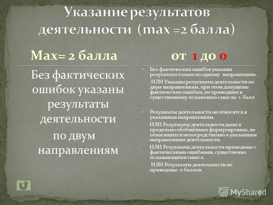 Max=3 балла Правильно указаны не менее двух направлений деятельности, дана характеристика каждого из них Правильно указаны не менее 2 направлений деятельности, дана характеристика каждого из них, при этом допущены фактические ошибки, не приведшие к с