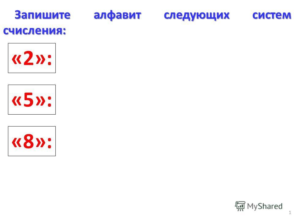 1 «2»: «5»: Запишите алфавит следующих систем счисления: «8»: