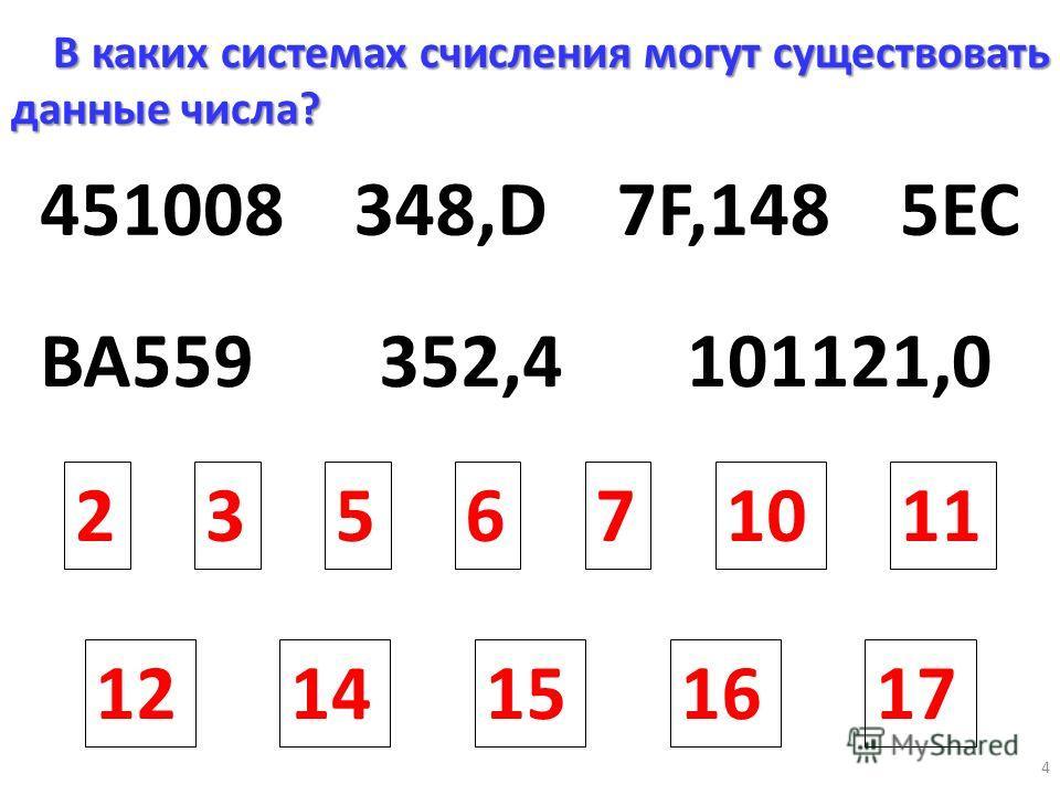 4 451008348,D7F,148 352,4101121,0BA559 235610117 1214151617 В каких системах счисления могут существовать данные числа? 5EC