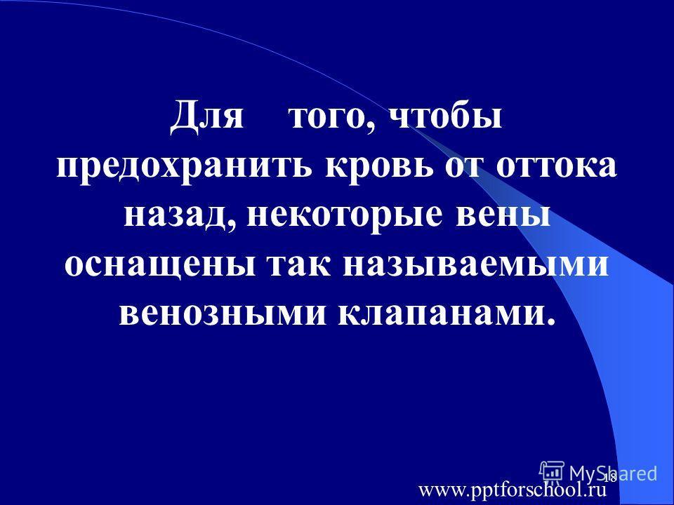 18 Для того, чтобы предохранить кровь от оттока назад, некоторые вены оснащены так называемыми венозными клапанами. www.pptforschool.ru