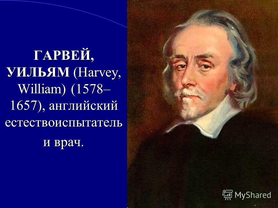 2 ГАРВЕЙ, УИЛЬЯМ (Harvey, William) (1578– 1657), английский естествоиспытатель и врач.