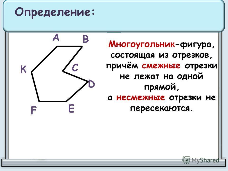 Многоугольник-фигура, состоящая из отрезков, причём смежные отрезки не лежат на одной прямой, а несмежные отрезки не пересекаются. Определение: А В С D Е F К 5