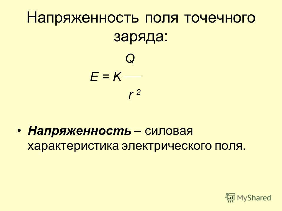 Напряженность поля точечного заряда: Q E = K r 2 Напряженность – силовая характеристика электрического поля.