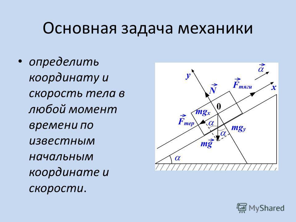 Основная задача механики определить координату и скорость тела в любой момент времени по известным начальным координате и скорости.
