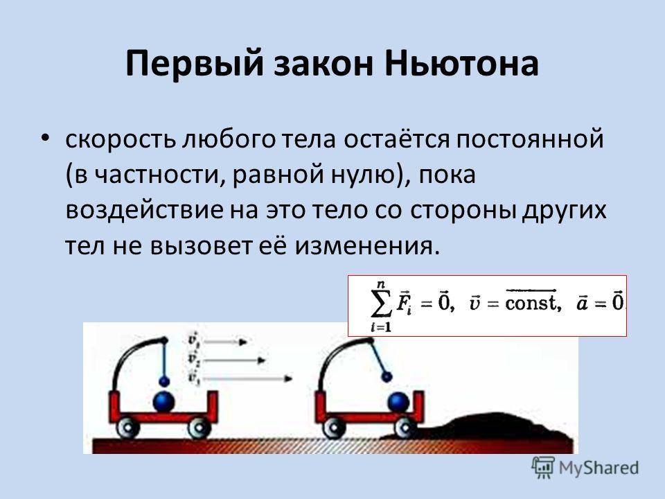 Первый закон Ньютона скорость любого тела остаётся постоянной (в частности, равной нулю), пока воздействие на это тело со стороны других тел не вызовет её изменения.