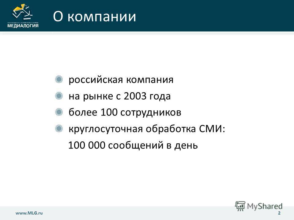 О компании российская компания на рынке с 2003 года более 100 сотрудников круглосуточная обработка СМИ: 100 000 сообщений в день 2www.MLG.ru