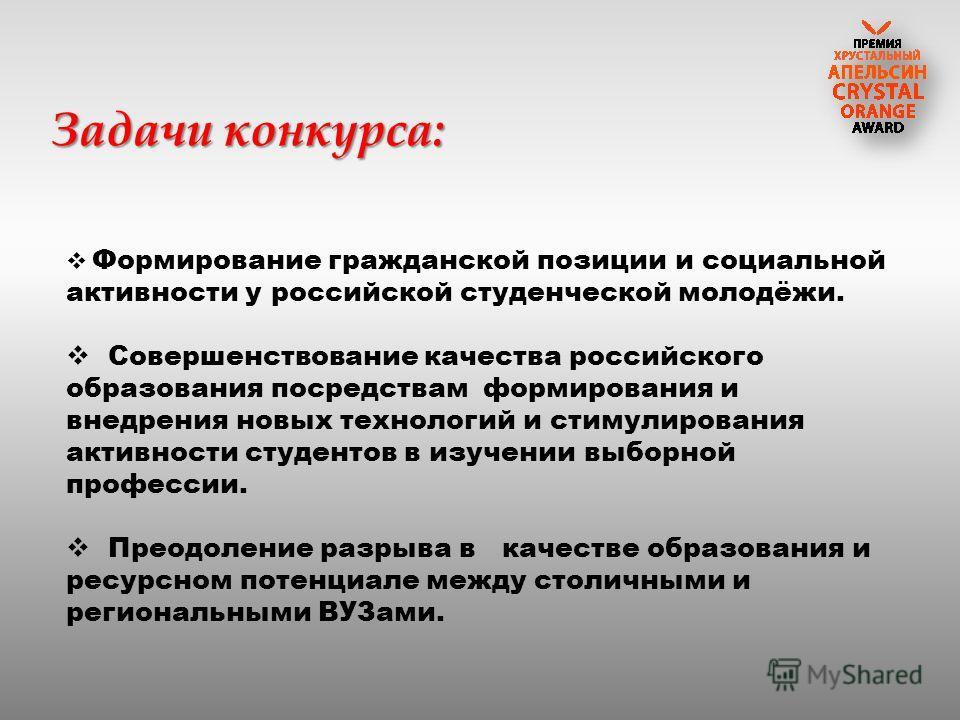Задачи конкурса: Формирование гражданской позиции и социальной активности у российской студенческой молодёжи. Совершенствование качества российского образования посредствам формирования и внедрения новых технологий и стимулирования активности студент