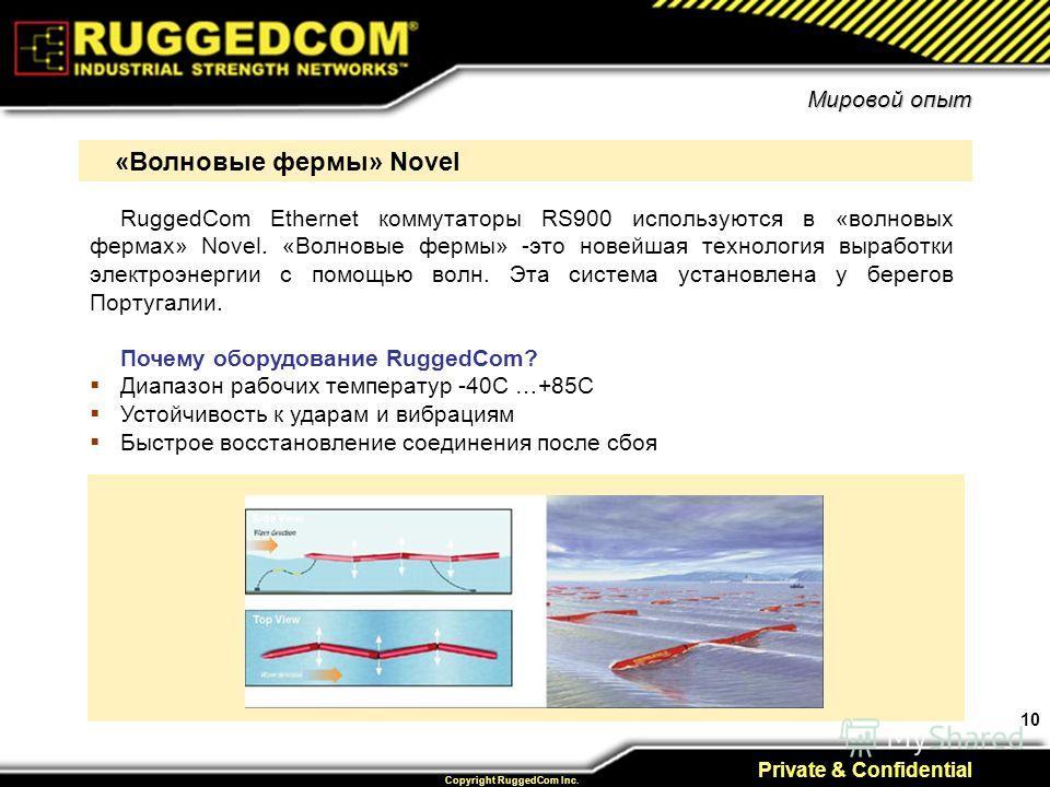 10 Private & Confidential Copyright RuggedCom Inc. Мировой опыт RuggedCom Ethernet коммутаторы RS900 используются в «волновых фермах» Novel. «Волновые фермы» -это новейшая технология выработки электроэнергии с помощью волн. Эта система установлена у
