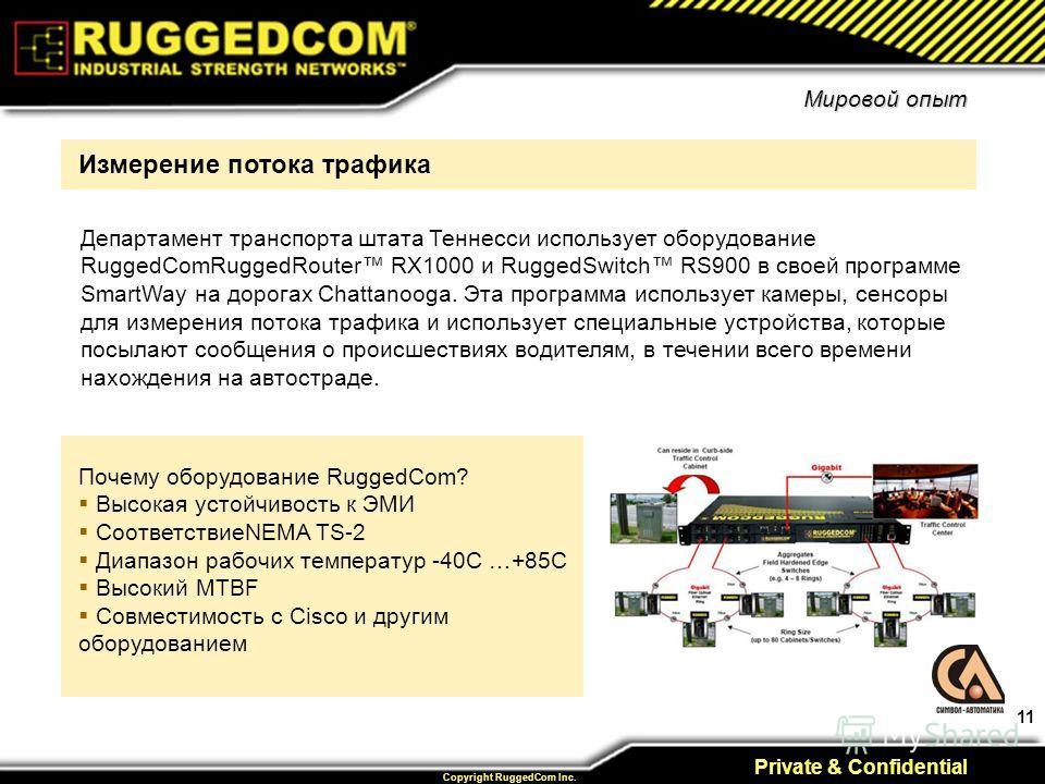 11 Private & Confidential Copyright RuggedCom Inc. Почему оборудование RuggedCom? Высокая устойчивость к ЭМИ СоответствиеNEMA TS-2 Диапазон рабочих температур -40C …+85C Высокий MTBF Совместимость с Cisco и другим оборудованием Измерение потока трафи