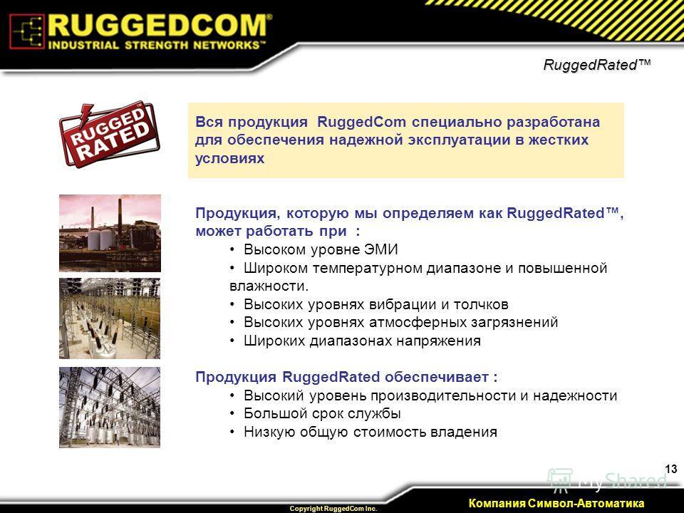 13 Private & Confidential Copyright RuggedCom Inc. Компания Символ-Автоматика RuggedRated Продукция, которую мы определяем как RuggedRated, может работать при : Высоком уровне ЭМИ Широком температурном диапазоне и повышенной влажности. Высоких уровня