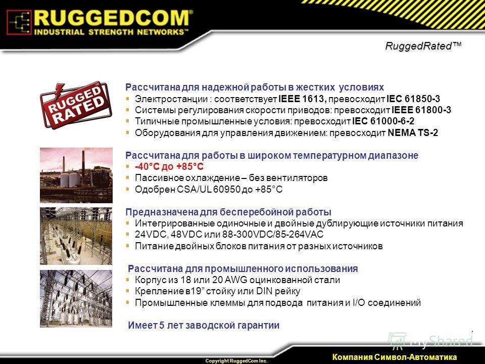 14 Private & Confidential Copyright RuggedCom Inc. Компания Символ-Автоматика RuggedRated Рассчитана для надежной работы в жестких условиях Электростанции : соответствует IEEE 1613, превосходит IEC 61850-3 Системы регулирования скорости приводов: пре
