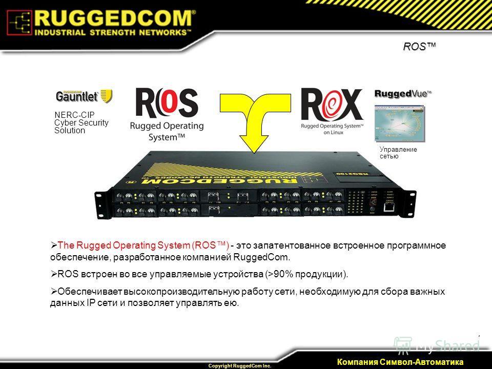 17 Private & Confidential Copyright RuggedCom Inc. Компания Символ-Автоматика ROS The Rugged Operating System (ROS) - это запатентованное встроенное программное обеспечение, разработанное компанией RuggedCom. ROS встроен во все управляемые устройства