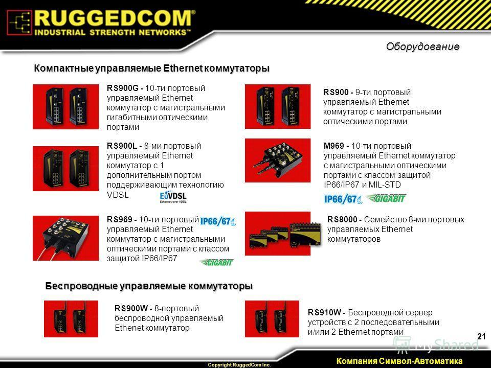 21 Private & Confidential Copyright RuggedCom Inc. Компания Символ-Автоматика Оборудование RS900G - 10-ти портовый управляемый Ethernet коммутатор с магистральными гигабитными оптическими портами RS900L - 8-ми портовый управляемый Ethernet коммутатор
