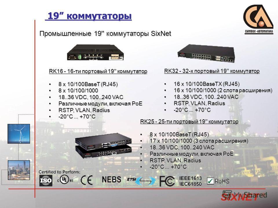 19 коммутаторы 19 коммутаторы Промышленные 19'' коммутаторы SixNet RK16 - 16-ти портовый 19'' коммутатор 8 x 10/100BaseT (RJ45) 8 x 10/100BaseT (RJ45) 8 x 10/100/1000 8 x 10/100/1000 18..36 VDC, 100..240 VAC 18..36 VDC, 100..240 VAC Различные модули,