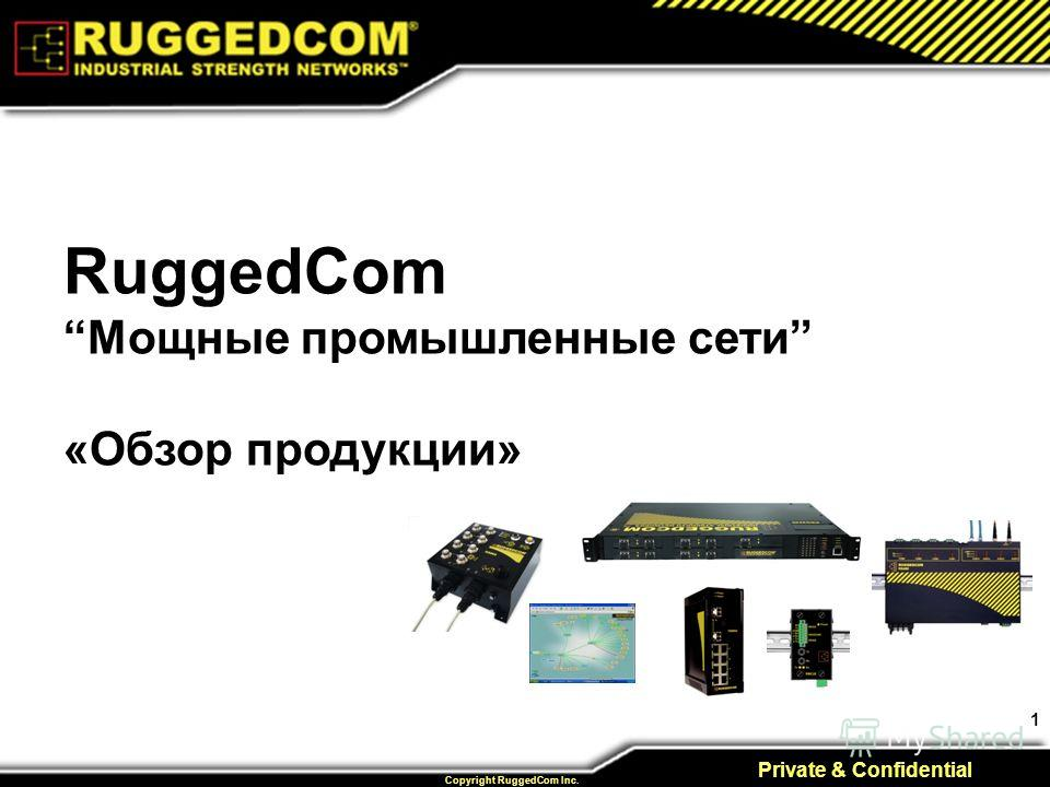1 Private & Confidential Copyright RuggedCom Inc. RuggedCom Мощные промышленные сети «Обзор продукции»