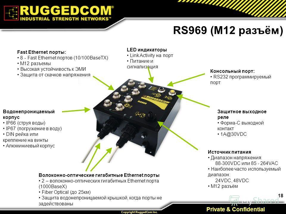 18 Private & Confidential Copyright RuggedCom Inc. Fast Ethernet порты: 8 - Fast Ethernet портов (10/100BaseTX) M12 разъемы Высокая устойчивость к ЭМИ Защита от скачков напряжения LED индикаторы Link Activity на порт Питание и сигнализация Консольный