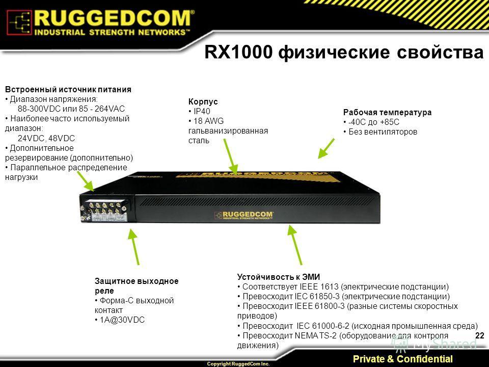 22 Private & Confidential Copyright RuggedCom Inc. Рабочая температура -40C до +85C Без вентиляторов Встроенный источник питания Диапазон напряжения: 88-300VDC или 85 - 264VAC Наиболее часто используемый диапазон: 24VDC, 48VDC Дополнительное резервир