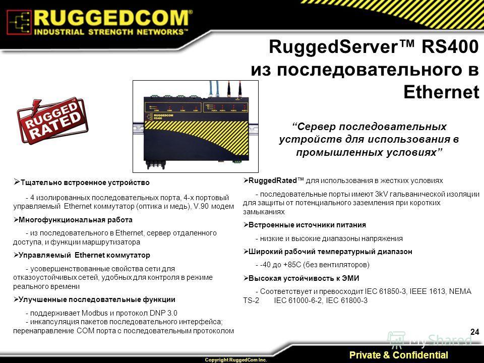 24 Private & Confidential Copyright RuggedCom Inc. Тщательно встроенное устройство - 4 изолированных последовательных порта, 4-х портовый управляемый Ethernet коммутатор (оптика и медь), V.90 модем Многофункциональная работа - из последовательного в