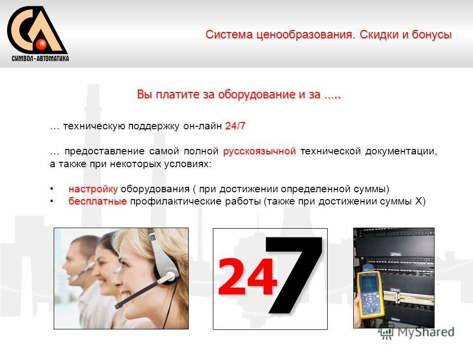 24/7 … техническую поддержку он-лайн 24/7 русскоязычной … предоставление самой полной русскоязычной технической документации, а также при некоторых условиях: настройку настройку оборудования ( при достижении определенной суммы) бесплатные бесплатные