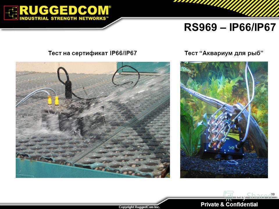 Private & Confidential Copyright RuggedCom Inc. 10 RS969 – IP66/IP67 Тест на сертификат IP66/IP67 Тест Аквариум для рыб