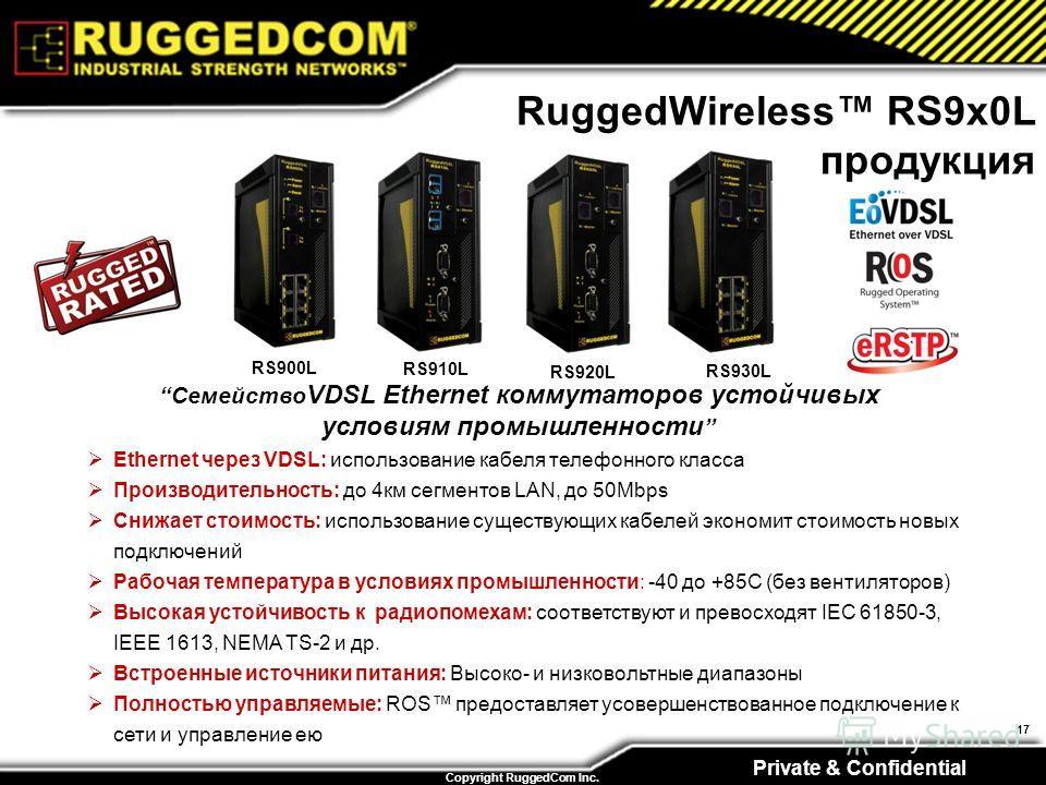 Private & Confidential Copyright RuggedCom Inc. 17 RuggedWireless RS9x0L продукция Семейство VDSL Ethernet коммутаторов устойчивых условиям промышленности Ethernet через VDSL: использование кабеля телефонного класса Производительность: до 4км сегмент