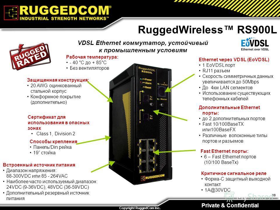 Private & Confidential Copyright RuggedCom Inc. 18 RuggedWireless RS900L Встроенный источник питания Диапазон напряжения: 88-300VDC или 85 - 264VAC Наиболее часто используемый диапазон: 24VDC (9-36VDC), 48VDC (36-59VDC) Дополнительный резервный источ