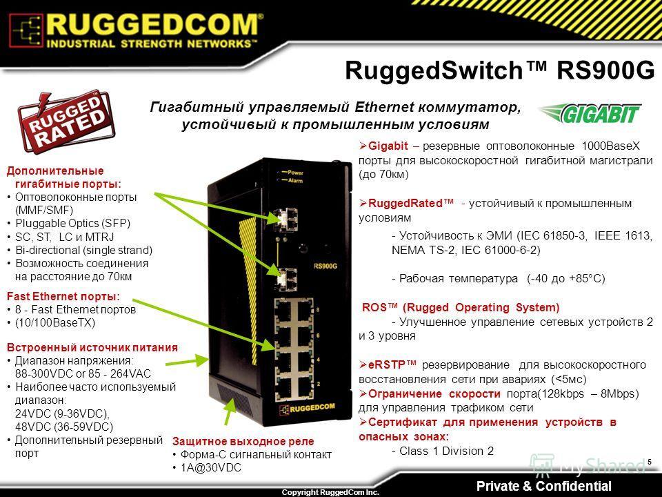 Private & Confidential Copyright RuggedCom Inc. 5 Гигабитный управляемый Ethernet коммутатор, устойчивый к промышленным условиям RuggedSwitch RS900G Fast Ethernet порты: 8 - Fast Ethernet портов (10/100BaseTX) Встроенный источник питания Диапазон нап