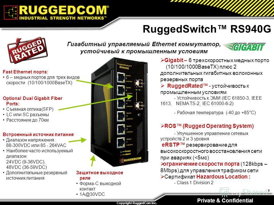 Private & Confidential Copyright RuggedCom Inc. 6 RuggedSwitch RS940G Fast Ethernet порта: 6 – медных портов для трех видов скорости (10/100/1000BaseTX) Встроенный источник питания Диапазон напряжения: 88-300VDC или 85 - 264VAC Наиболее часто использ