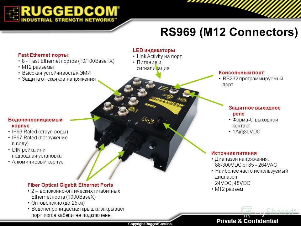 Private & Confidential Copyright RuggedCom Inc. 8 RS969 (M12 Connectors) Источник питания Диапазон напряжения: 88-300VDC or 85 - 264VAC Наиболее часто используемый диапазон: 24VDC, 48VDC M12 разъем Защитное выходное реле Форма-C выходной контакт 1A@3