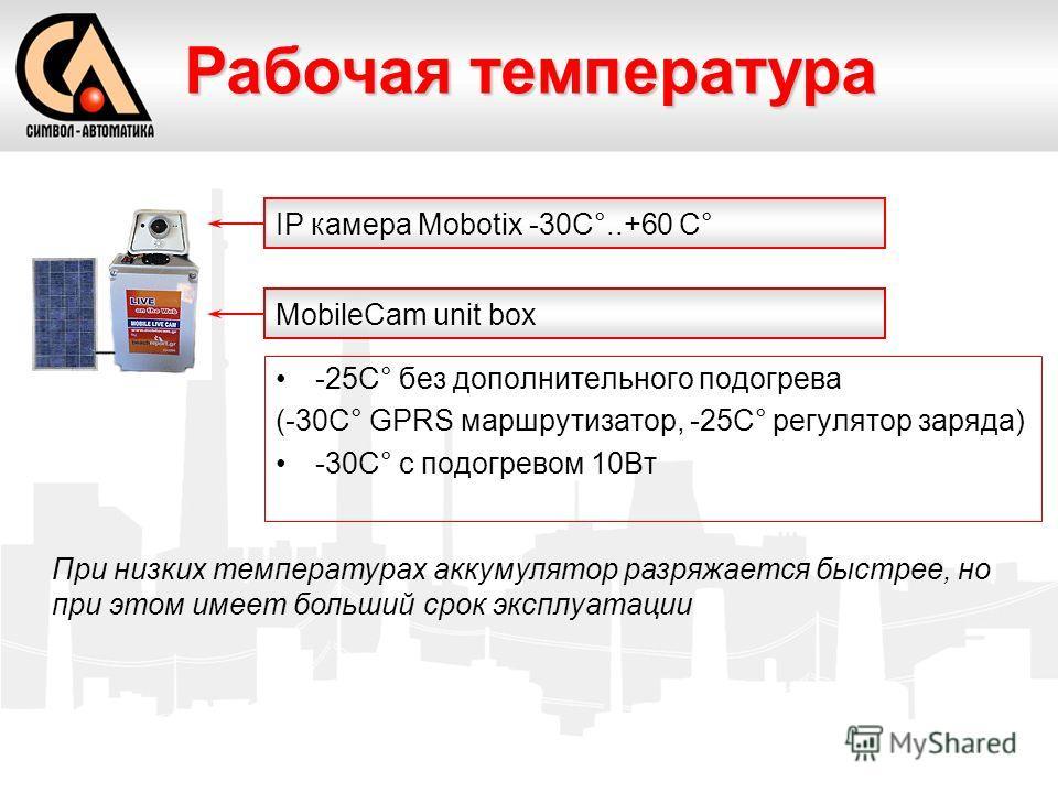 -25C° без дополнительного подогрева (-30C° GPRS маршрутизатор, -25C° регулятор заряда) -30C° с подогревом 10Вт Рабочая температура При низких температурах аккумулятор разряжается быстрее, но при этом имеет больший срок эксплуатации IP камера Mobotix
