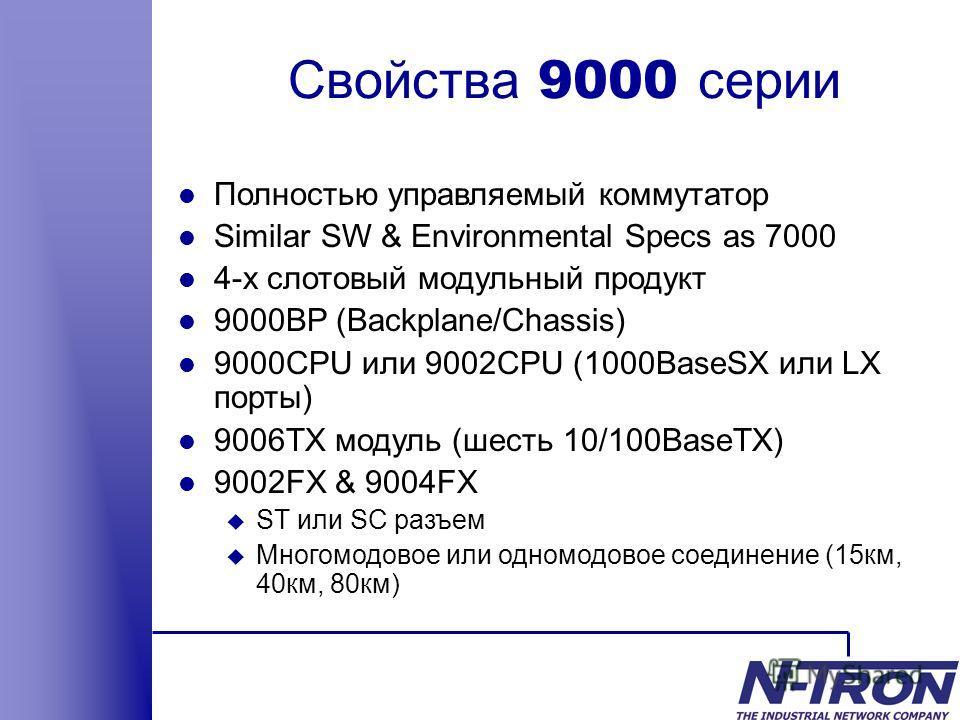 Свойства 9000 серии l Полностью управляемый коммутатор l Similar SW & Environmental Specs as 7000 l 4-х слотовый модульный продукт l 9000BP (Backplane/Chassis) l 9000CPU или 9002CPU (1000BaseSX или LX порты) l 9006TX модуль (шесть 10/100BaseTX) l 900