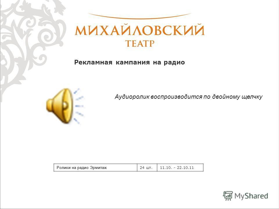 Рекламная кампания на радио Ролики на радио Эрмитаж 24 шт.11.10. - 22.10.11 Аудиоролик воспроизводится по двойному щелчку