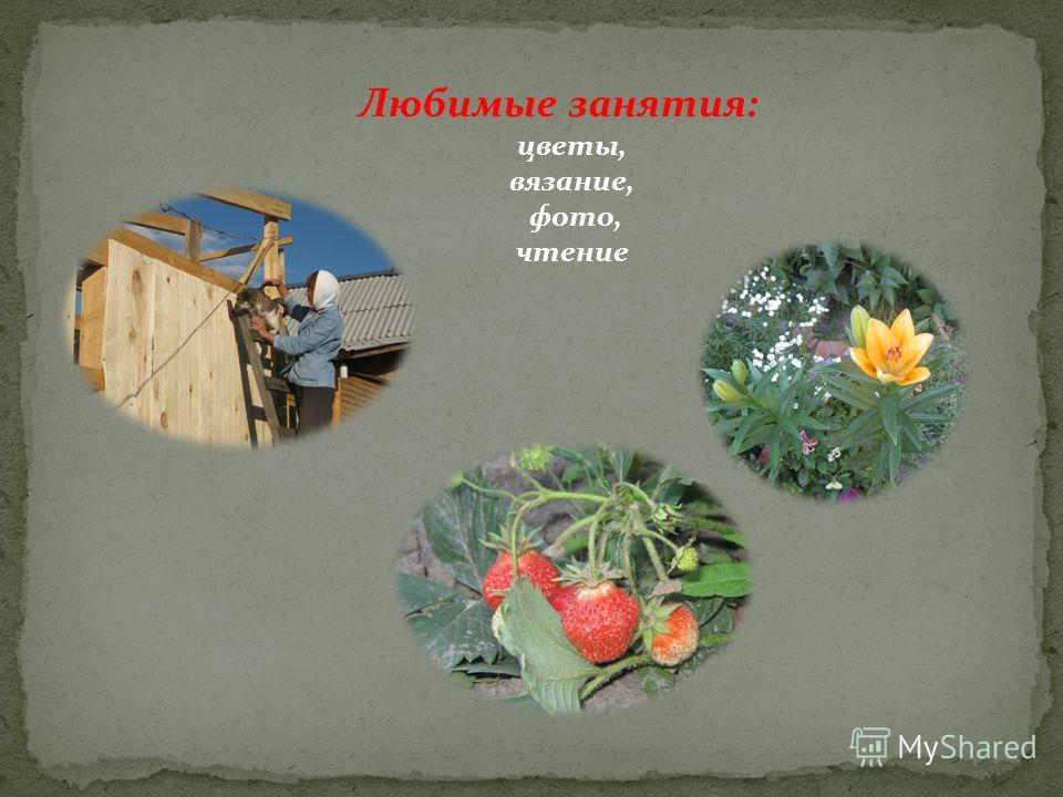 Любимые занятия: цветы, вязание, фото, чтение