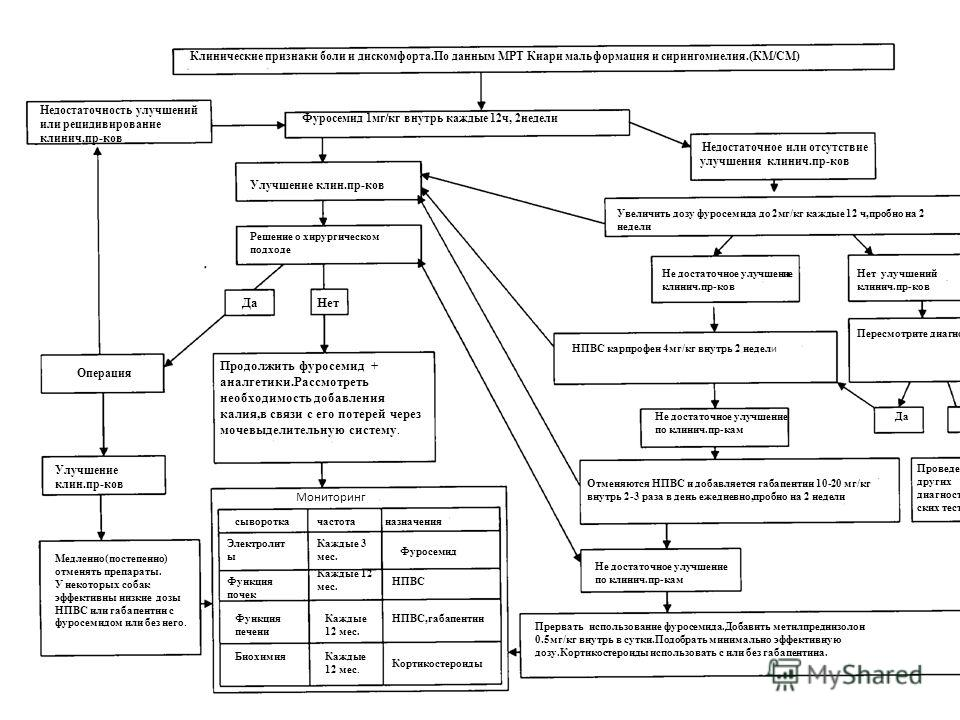 Клинические признаки боли и дискомфорта.По данным МРТ Киари мальформация и сирингомиелия.(КМ/СМ) Фуросемид 1мг/кг внутрь каждые 12ч, 2недели Недостаточность улучшений или рецидивирование клинич.пр-ков Недостаточное или отсутствие улучшения клинич.пр-