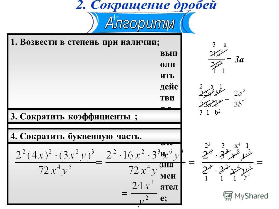 2. Определить знак; (можно опр еде лят ь сна чал а); 1. Возвести в степень при наличии; вып олн ить дейс тви я в чис лит еле и зна мен ател е; 3. Сократить коэффициенты ; 4. Сократить буквенную часть. 3 1 а 1 3а 2 3 а 1 1 b2b2 2323 1 3 1 x4x4 1 1 y2y