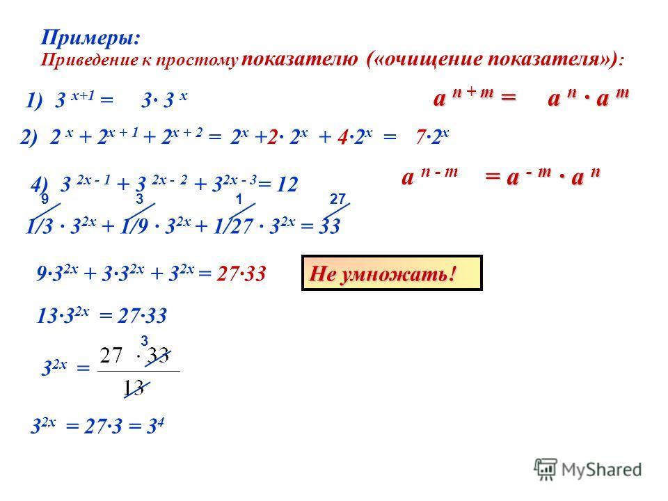 Примеры: 1) 3 х+1 = 2) 2 х + 2 х + 1 + 2 х + 2 = Приведение к простому показателю («очищение показателя») : 4) 3 2х - 1 + 3 2х - 2 + 3 2х - 3 = 12 a n + m = a n - m a n a m 3· 3 х 2 х +2· 2 х + 4·2 х =7·2х7·2х = a - m a n 1/3 · 3 2x + 1/9 · 3 2x + 1/