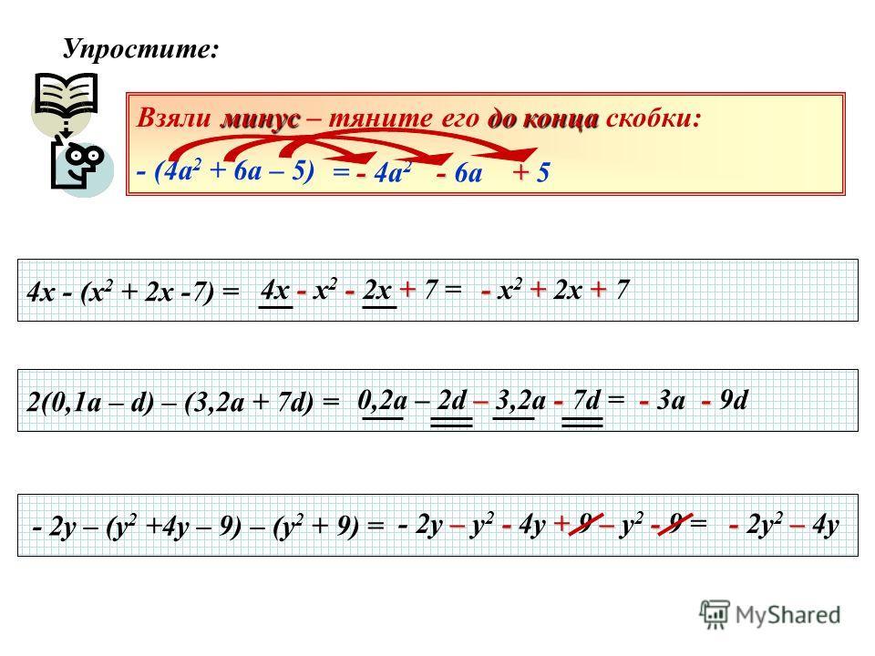 Упростите: 4х - (х 2 + 2х -7) = 2(0,1а – d) – (3,2a + 7d) = - 2y – (y 2 +4y – 9) – (y 2 + 9) = Взяли м мм минус – тяните его д дд до конца скобки: - (4а 2 + 6а – 5) - = - 4а 2 - - 6а + + 5 - -+ 4х - х 2 - 2х + 7 = - ++ - х 2 + 2х + 7 –- 0,2а – 2d – 3