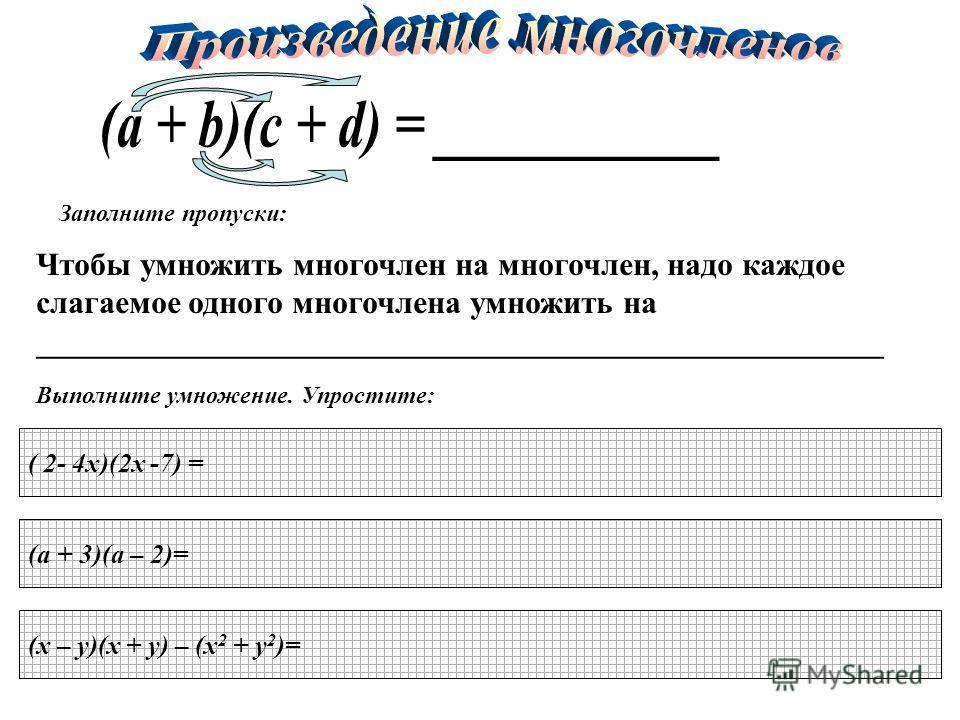 Заполните пропуски: Чтобы умножить многочлен на многочлен, надо каждое слагаемое одного многочлена умножить на _____________________________________________________ Выполните умножение. Упростите: ( 2- 4х)(2х -7) = (а + 3)(а – 2)= (x – y)(х + y) – (x