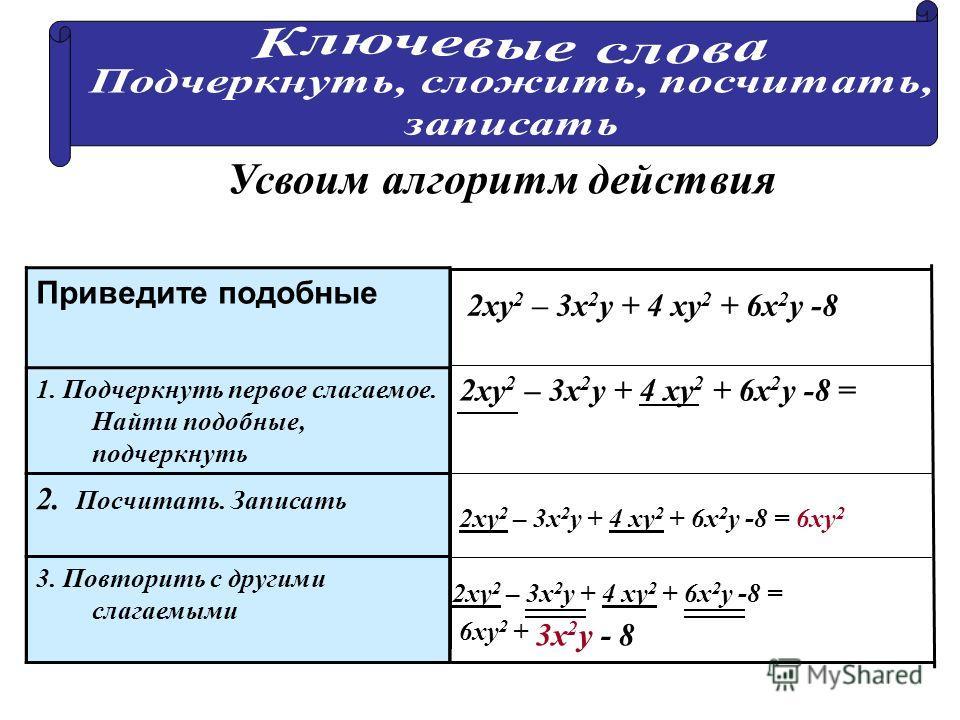 Приведите подобные 1. Подчеркнуть первое слагаемое. Найти подобные, подчеркнуть 2ху 2 – 3х 2 у + 4 ху 2 + 6х 2 у -8 = 6ху 2 + 2ху 2 – 3х 2 у + 4 ху 2 + 6х 2 у -8 = 2ху 2 – 3х 2 у + 4 ху 2 + 6х 2 у -8 2. Посчитать. Записать 3. Повторить с другими слаг