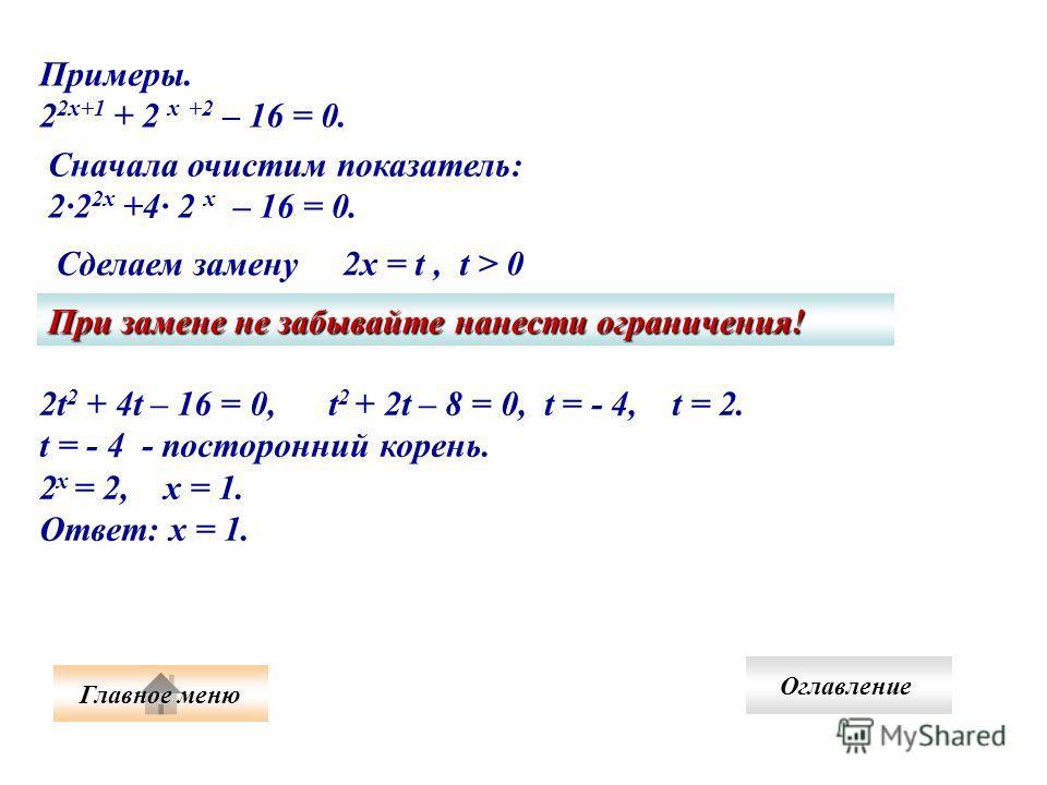 2t 2 + 4t – 16 = 0, t 2 + 2t – 8 = 0, t = - 4, t = 2. t = - 4 - посторонний корень. 2 х = 2, х = 1. Ответ: х = 1. Примеры. 2 2х+1 + 2 х +2 – 16 = 0. Сначала очистим показатель: 22 2х +4 2 х – 16 = 0. Сделаем замену 2х = t, t > 0 При замене не забывай