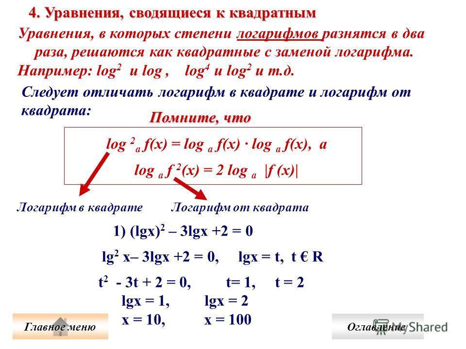 Уравнения, в которых степени логарифмов разнятся в два раза, решаются как квадратные с заменой логарифма. Например: log 2 и log, log 4 и log 2 и т.д. 4. Уравнения, сводящиеся к квадратным Следует отличать логарифм в квадрате и логарифм от квадрата: l