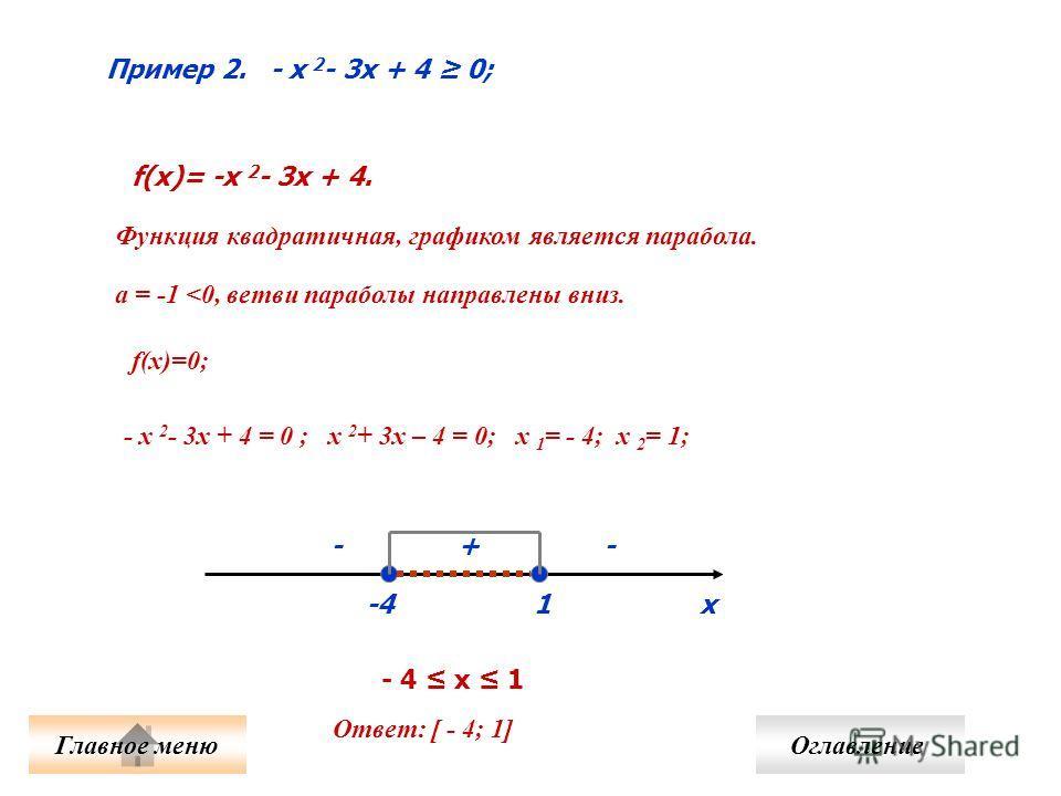 Пример 2. - х 2 - 3х + 4 0; f(x)= -x 2 - 3x + 4. Функция квадратичная, графиком является парабола. а = -1
