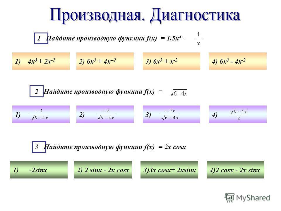 1 Найдите производную функции f(x) = 1,5х 4 - 1) 4х 3 + 2х -2 2) 6х 3 + 4х --2 3) 6х 3 + х -2 4) 6х 3 - 4х -2 2 Найдите производную функции f(x) = 1)2)3)4) 3 Найдите производную функции f(x) = 2х cosх 1) -2sinх2) 2 sinх - 2х cosх3)3х cosх+ 2хsinх4)2