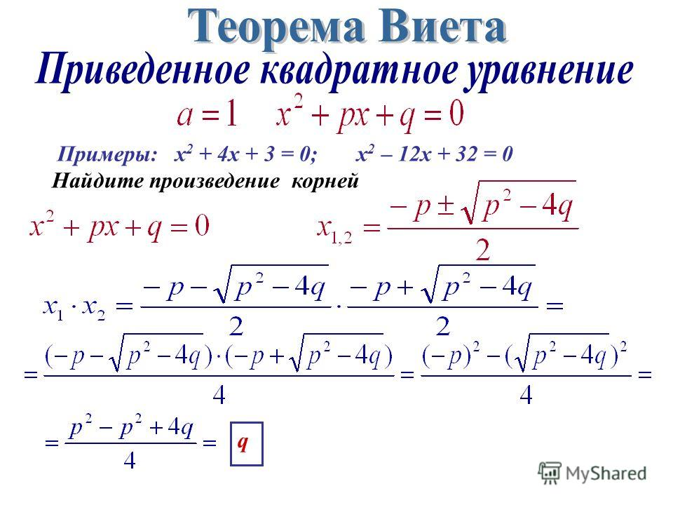 Примеры: х 2 + 4x + 3 = 0; x 2 – 12x + 32 = 0 Найдите произведение корней q