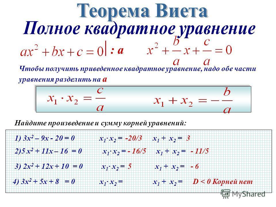 Чтобы получить приведенное квадратное уравнение, надо обе части уравнения разделить на а : а 1) 3х 2 – 9х - 20 = 0 х 1 · х 2 = х 1 + х 2 = 2)5 х 2 + 11х – 16 = 0 х 1 · х 2 = х 1 + х 2 = 3) 2х 2 + 12х + 10 = 0 х 1 · х 2 = х 1 + х 2 = 4) 3х 2 + 5х + 8